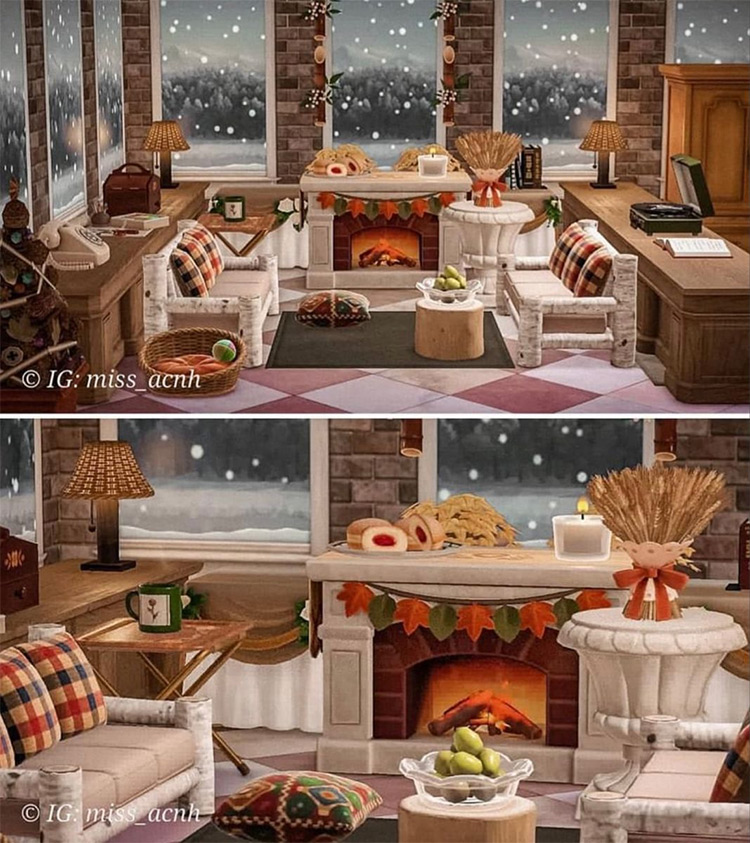 Fireplace Lounge Area - ACNH Idea