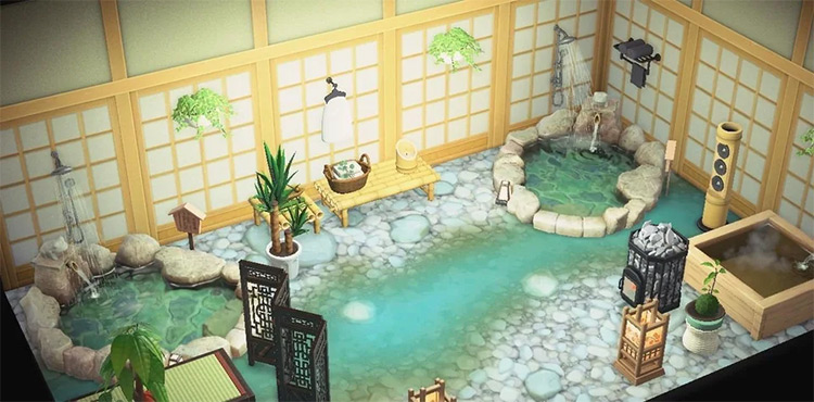 Secret Bathhouse Garden Area - ACNH Lounge Idea