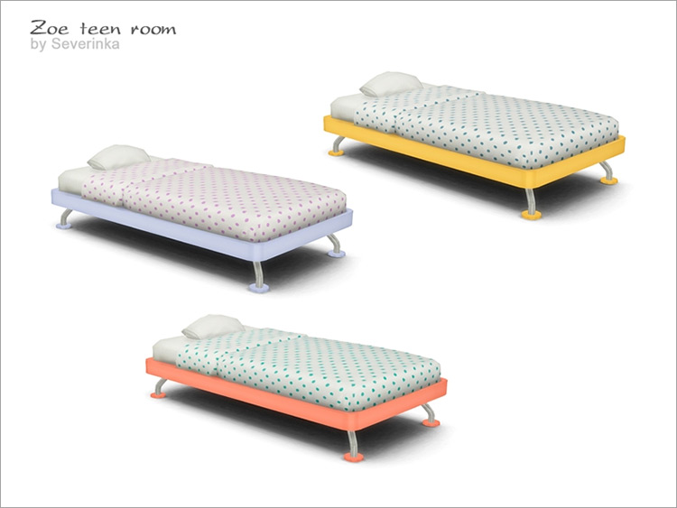 Zoe Wide Single Bed Sims 4 CC
