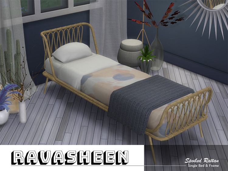 Spoiled Rattan Bed Sims 4 CC