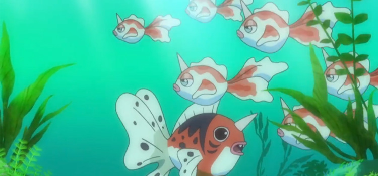 Seaking and Goldeen under the sea in the anime