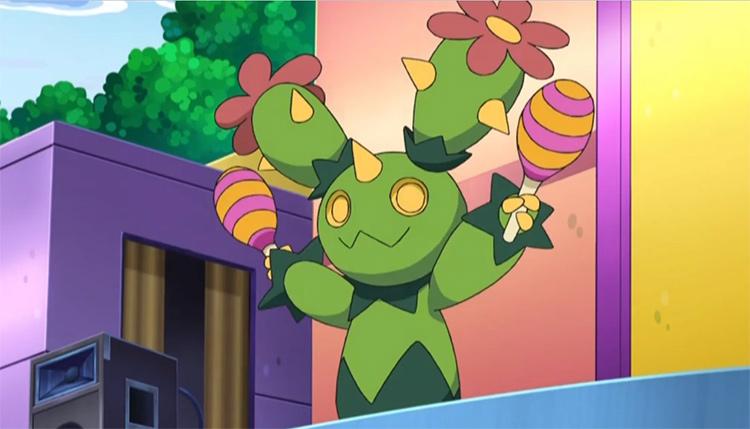 Maractus, the cactus Pokemon from the anime
