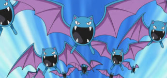 Golbats flying together, anime screenshot