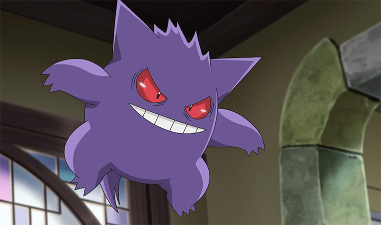 Gengar, the best ghost Pokemon - screenshot from the anime