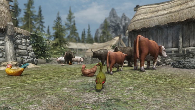 Farm Animals in Skyrim mod