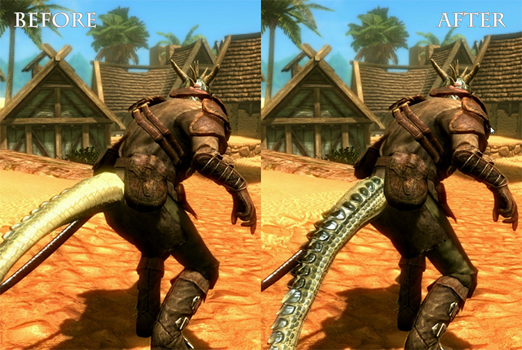 Argonian Sneak Tail twist mod