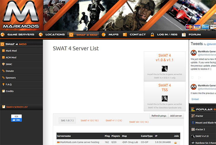 SWAT 4 Server List mod