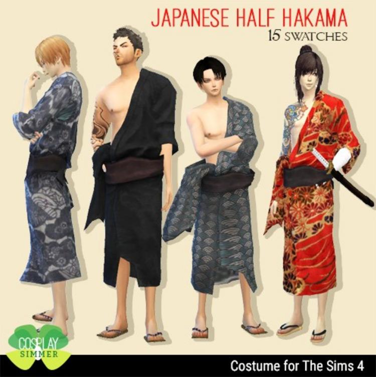 Male Half Hakama Costume for Sims 4