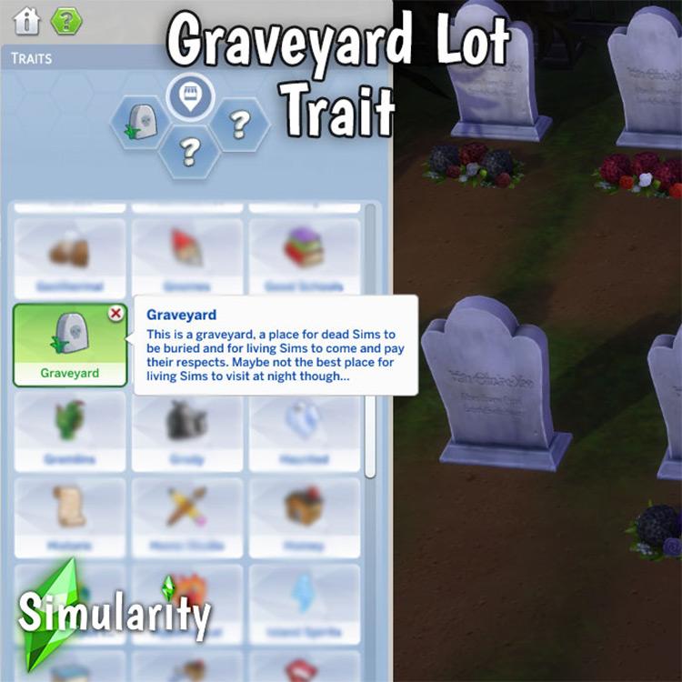 Graveyard Lot Trait Sims 4 CC