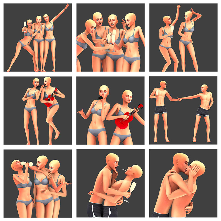Customized Bachelorette Party Pose Pack for Sims 4