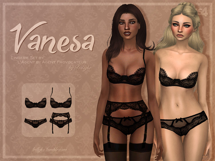 Black Lingerie Collection for Sims 4