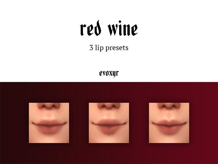 Red Wine Lip Presets TS4 CC