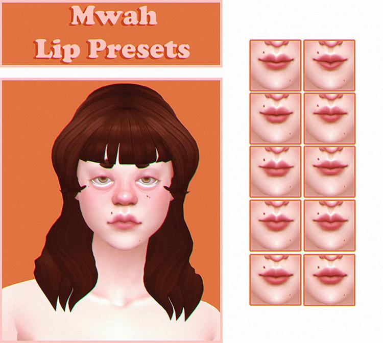 Mwah Lip Presets Sims 4 CC