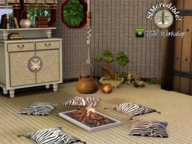 Asian Nook Fireplace - Sims 4 CC