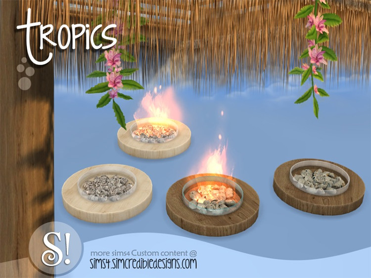 Tropics Outdoor Fire Pit CC - Sims 4