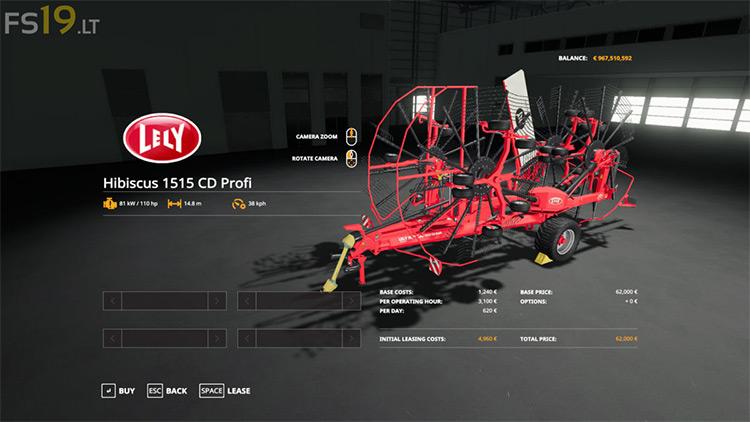 Lely Hibiscus 1515 CD Profi v1.0 FS19 Mod screenshot