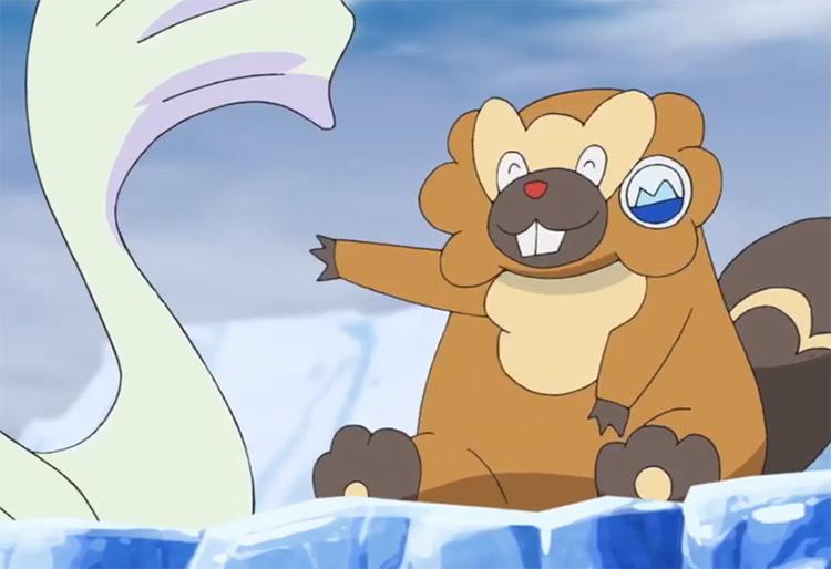 Bibarel smiling in the Pokemon anime