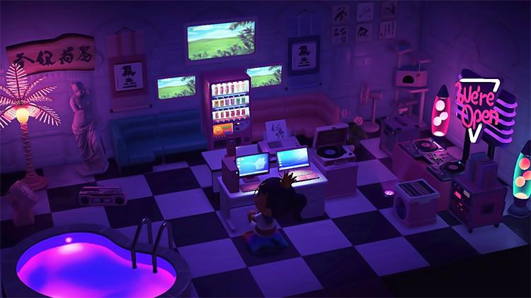 Vaporwave Basement Gamer Room - New Horizons Idea