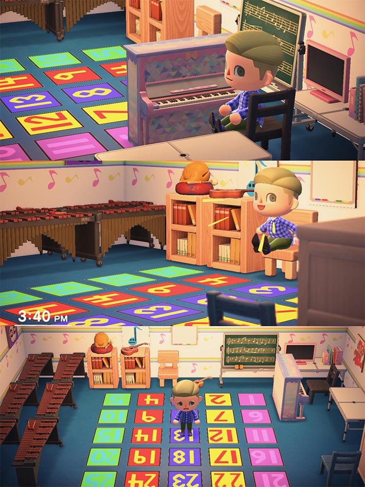 Homeschool Classroom Design in ACNH Basement