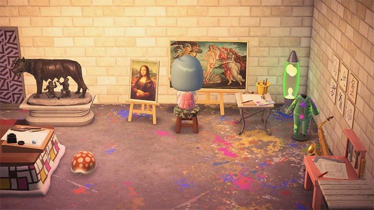 Art Studio Basement Room - ACNH Idea