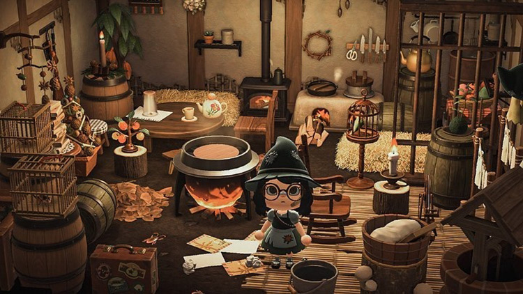 Witchy Kitchen Basement Area - ACNH Idea