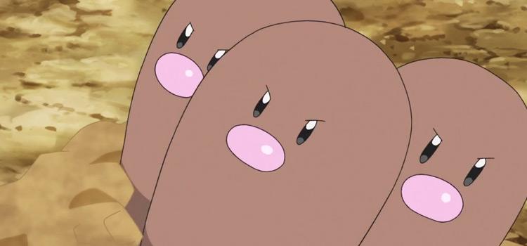 Dugtrio Pokémon close-up anime screenshot