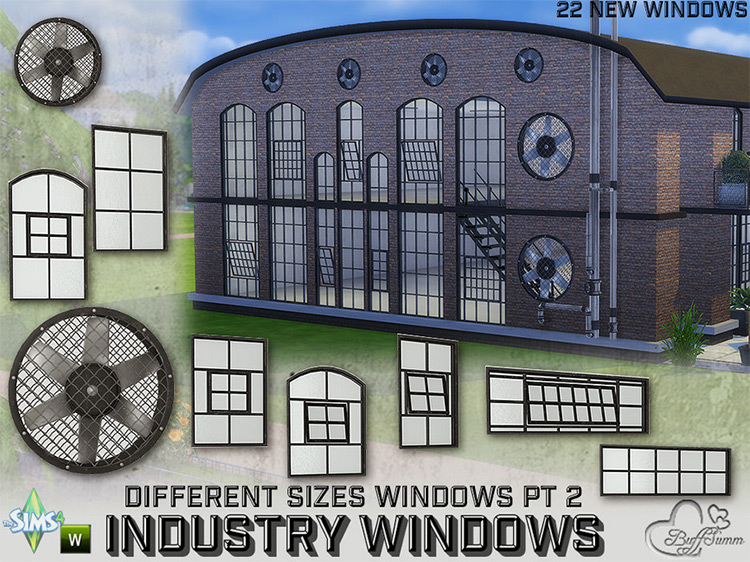 Industry Windows for All Wall Size Pt. 2 by BuffSumm TS4 CC