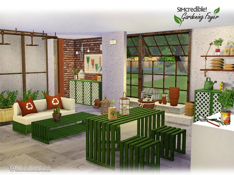 Gardening Foyer by SIMcredible! Sims 4 CC