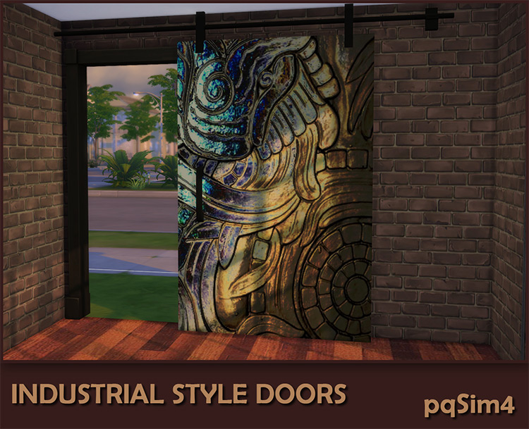 Industrial Style Décor Doors by pqSim4 Sims 4 CC