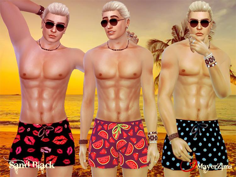 Sand Black Swim Shorts Sims 4 CC