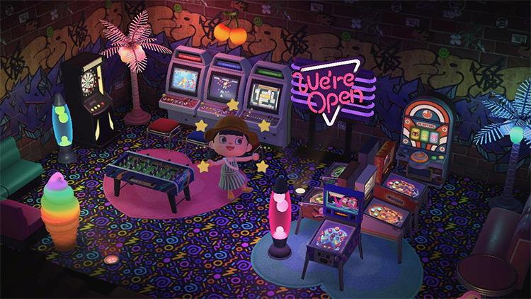 Bright Basement Arcade Room Idea - ACNH
