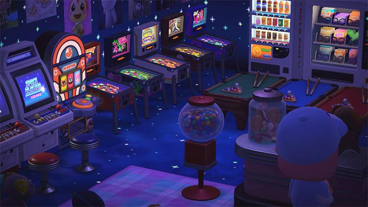 Dark nighttime arcade prize room - ACNH