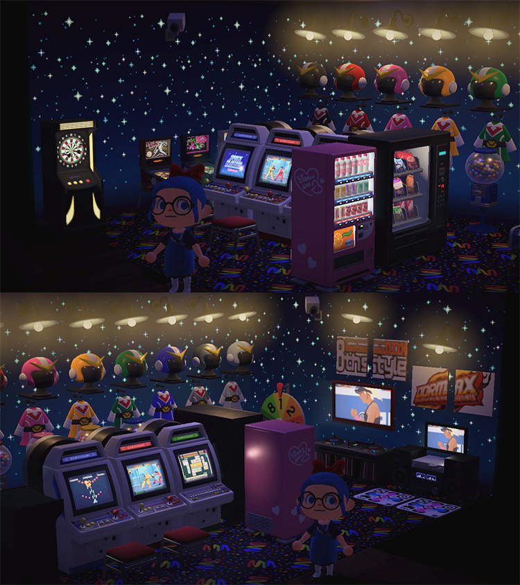 Starry Basement Arcade Video Game Room - ACNH