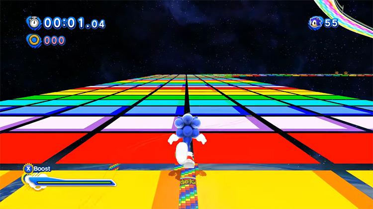 Super Sonic Racing Over Rainbow Road MK7 Mod