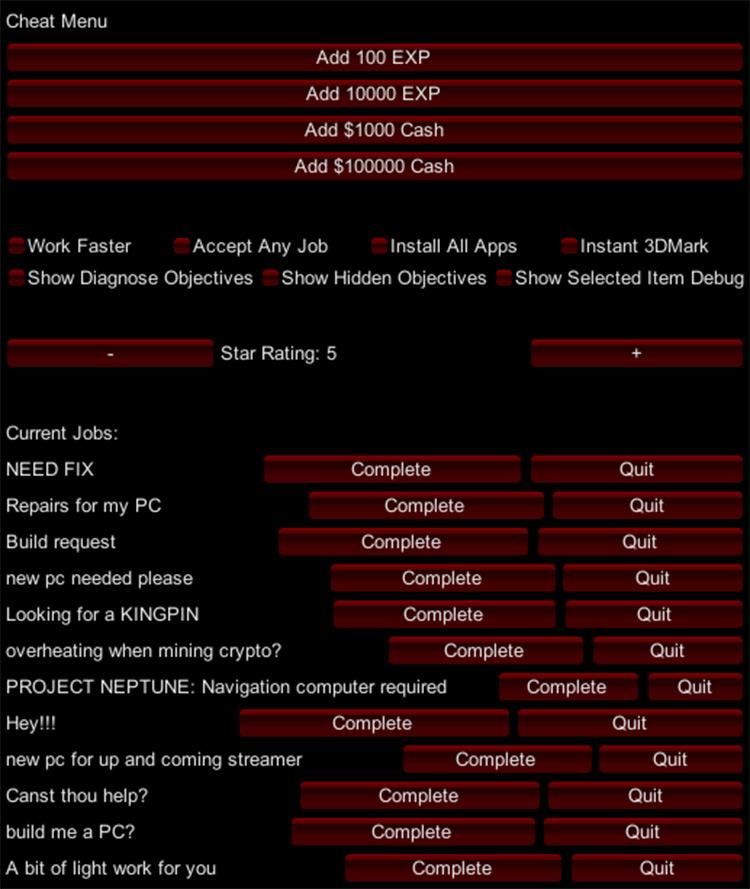 Cheat Menu Mod - PC Building Sim
