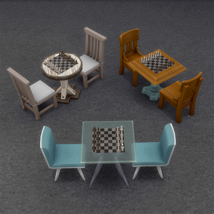 Table-less Chess Set CC for The Sims 4