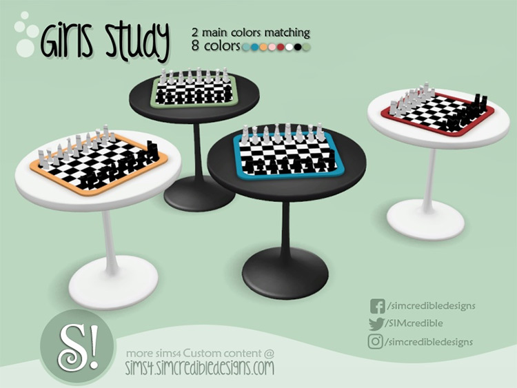 Girl Study Chess Table CC - The Sims 4