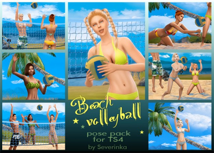 Beach Volleyball Pose Pack for The Sims 4