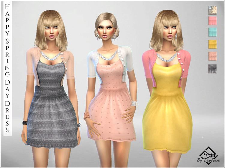 Happy Spring Day Dress CC for The Sims 4
