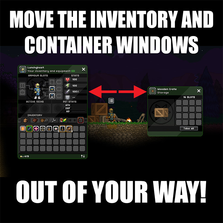 Container UI Tweaks Starbound Mod