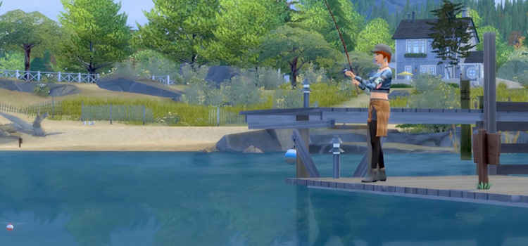 Sims 4 - Girl Sim fishing in a lake