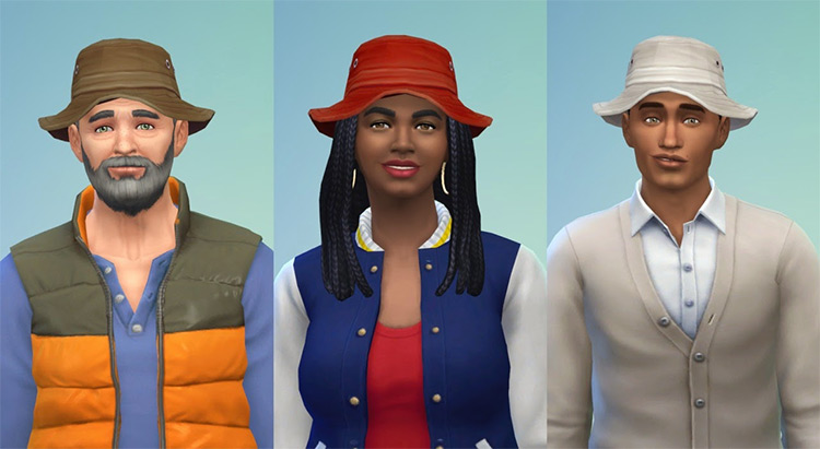 Bucket Hats CC (Male + Female Sims)