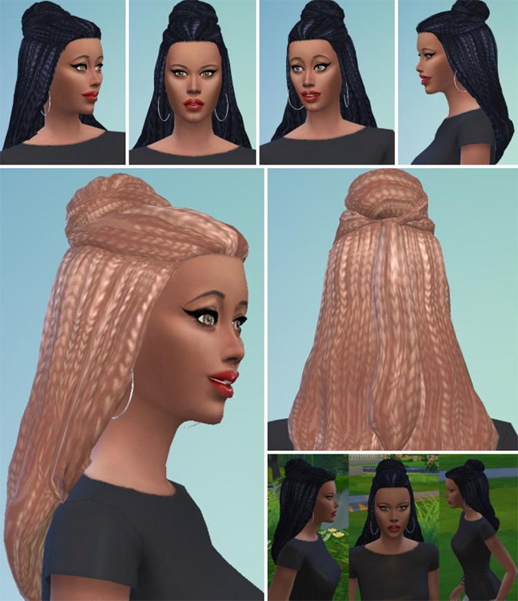 Braid Bun CC - Sims 4