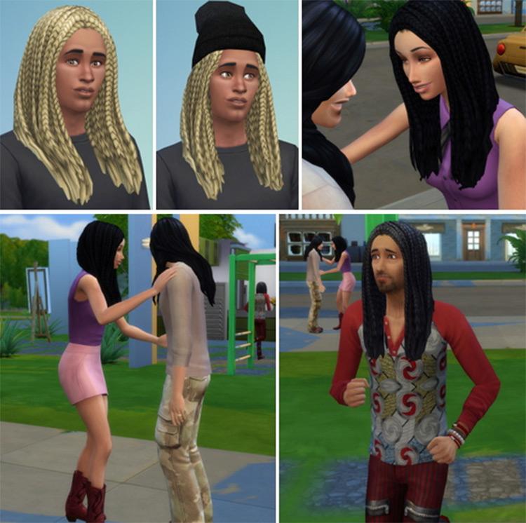 City Braids Male + Female CC - Sims 4