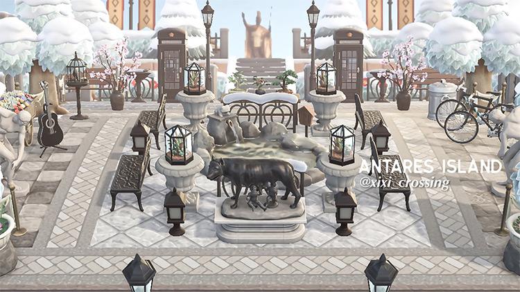 Winter Snow in Town Square - ACNH Idea