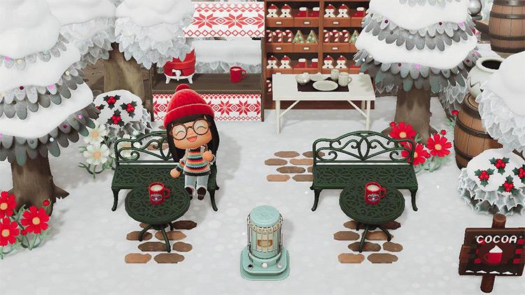 Outdoor Hot Cocoa Stand - ACNH Winter Idea