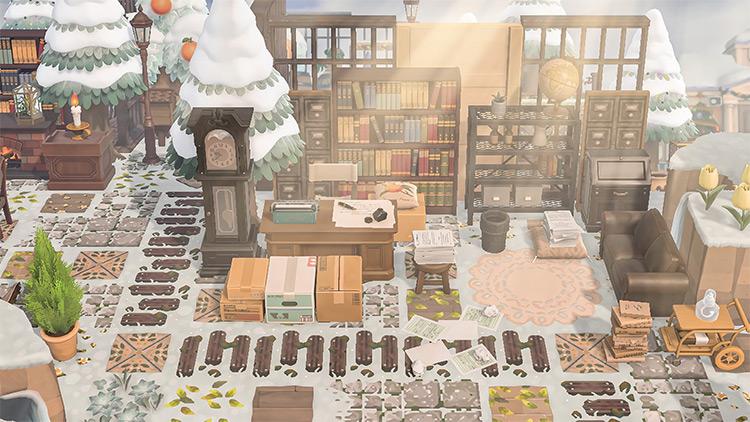 Outdoor Study Area in Snow - ACNH Idea