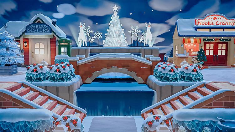 Shopping Area Christmas Lights - ACNH Winter Idea