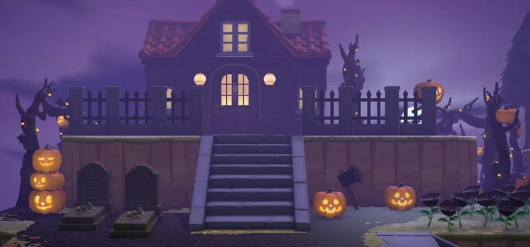 Halloween Haunted House Build - ACNH Nighttime Screenshot