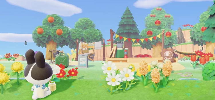 Dotty in springtime campsite - ACNH Screenshot